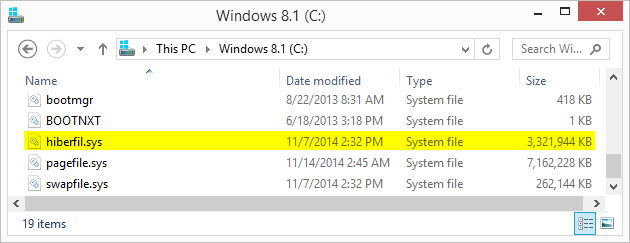 hiberfil.sys windows 7 change location